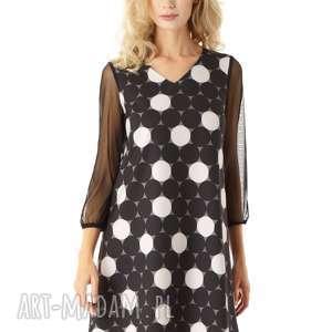 ella dora sukienka trapezowa z tiulowymi rękawami keira w koła