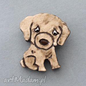 Prezent BISZKOPCIK-broszka ceramiczna, minimalizm, wielbiciel, pies,
