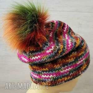 hand-made czapki kolorowa czapka zimowa z podwójnym rondem