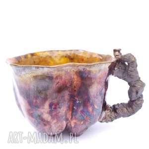 kubek pumpkin raku, kubek, naczynie, unikatowe, użytkowe, spożywcze, ceramika