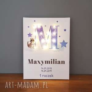 świecąca litera led personalizowany obraz metryczka prezent na narodziny