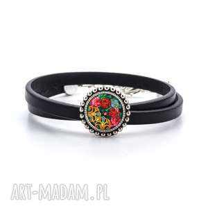 bransoletka z rzemienia - kwiecista, folk, ludowa, rękodzieło