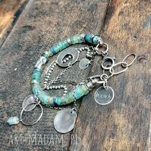 bransoletka srebrna ze szkłem afgańskim, szkło afgańskie, oksydowana