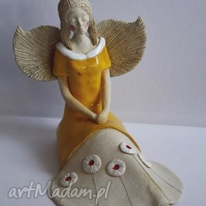 Anioł rozłożysty w kwiecistej sukience, anioł, aniołek, anielica