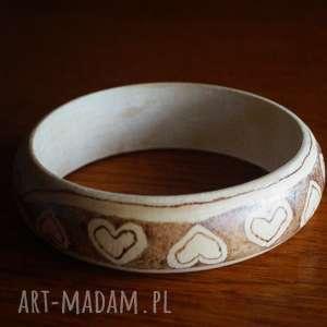aksinicoffeepainting serduchowa bransoletka - ręcznie - pirografia