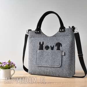 na ramię duża szara filcowa torebka z czterema pieskami, filc, torebka, klasyczna