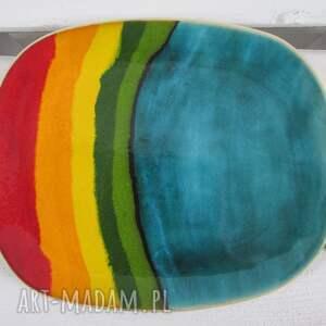 tęczowa patera ceramiczna - ,dekoracyjna,artystyczna,patera,talerz,ceramiczny,ozdobny,