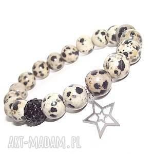 bransoletki srebrna gwiazdka w kamieniach, gwiazdka, charms, kamienie, elegancka