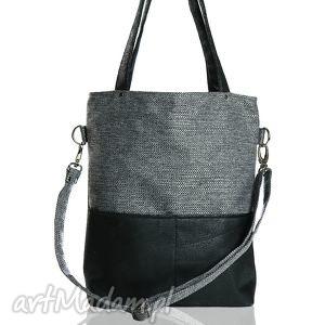 Szara torba z grubo plecionej tkaniny i eko skóry do pracy, torba, torebka, czarna