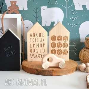 3 domki drewniane, domek, alfabet, tablicowy, dom, domki, drewniane