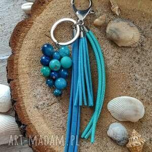 brelok z kamieniami naturalnymi - ocean blue ii, zawieszka do torebki