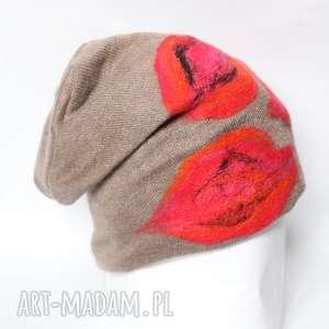 Prezent czapka wełniana damska bez, wełna, filc, zima, prezent, ciepła,