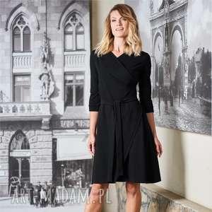 sukienka kopertowa pasja czarna, sukienka, do pracy, dzianina, bawełna