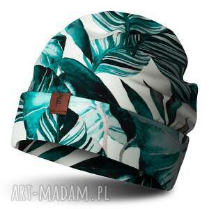 czapka beanie jesienno-zimowa biała w turkusowe liście, bawełniana, dresowa