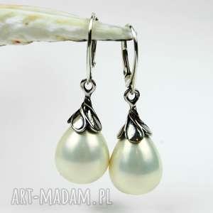 kolczyki srebrne z perłami w kształcie kropli a515-b, perły