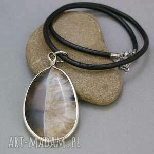 naszyjnik wisior agat, naszyjnik, wisior, rzemień, skórzany, kamień