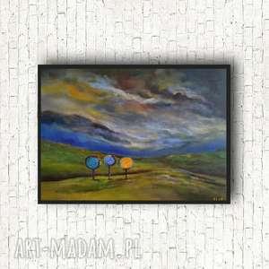trzy drzewa-obraz akrylowy formatu 40/30cm, obraz namalowany, do salonu