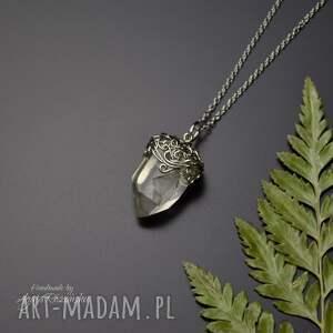 wisiorek talizman surowy kryształ górski stal chirurgiczna wire wrapping