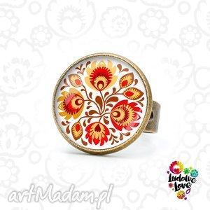 pierścionek jesienny folk, folklor, polskie, wzory, ludowe, łowickie, kwiaty