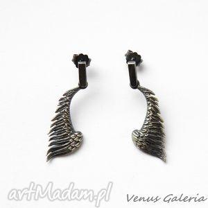 ręcznie wykonane kolczyki kolczyki na sztyftach - czarne skrzydła