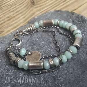 ręcznie zrobione bransoletki bransoletka srebrna z amazonitem