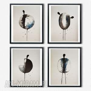 postacie-30/40 cm x 4 akwarele, akwarela, papier, postacie, tusz