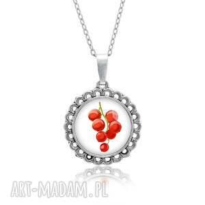 ręcznie zrobione naszyjniki medalion okrągły mały z grafiką czerwona