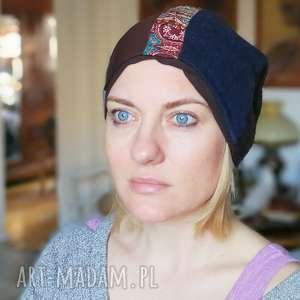 czapka patchworkowa damska etno - czapka, ciepła, wełna, etno, patchwork, bieganie