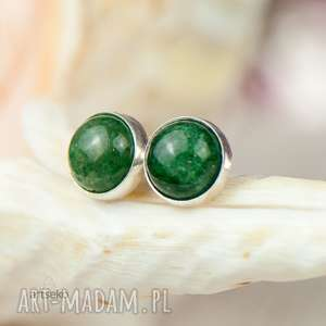 srebrne sztyfty z zielonym awenturynem a305, sztyfty, zielony awenturyn