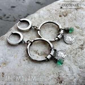 srebro i kwarc - kolczyki koła boho - oksydowane srebro, prezent dla niej