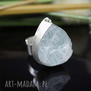 srebrny pierścionek kropla lodu