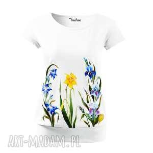 bluzki bluzka ręcznie malowana z kwiatami -certyfikowana bawełna, bluzka, koszulka
