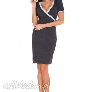 Sukienka L_1 ciemnoszary jasnoszary, sukienka, elegancka, dzianina, dresówka, wygodna
