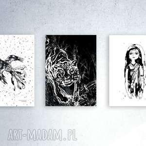 3 plakaty czarno-białe, zestaw plakatów, w skandynawskim stylu