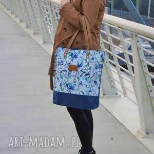 shopper bag niebieskie litstki, torbanalato, duzatorba, modnatorba, torbawewzory