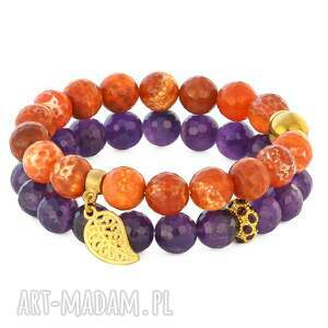 lavoga orange violet set - agat, ametyst, listek bi 380 uteria