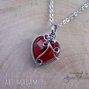 Wisiorek serce kryształ Swarovski Light Siam, wire wrapping, wisiorek, naszyjnik