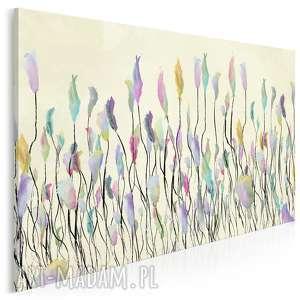 obraz na płótnie - łąka tęcza 120x80 cm 53101, łąka, tęcza, kwiaty, wiosna