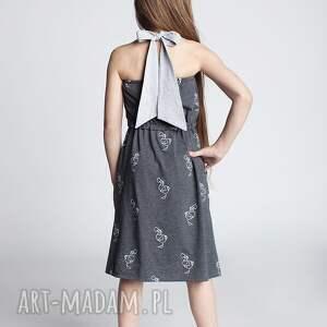 pod choinkę prezenty, sukienka dsu12, sukienka, szelki, bawełna, ptaki, sportowa