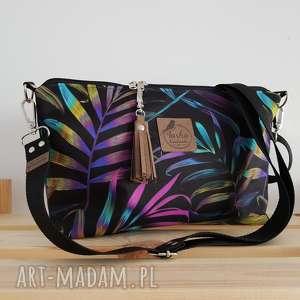 na ramię torebka mini wodoodporna - palmy w neonach od ręki