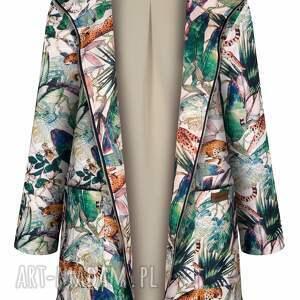 jesienny płaszcz przeciwdeszczowy, ocieplony w gepardy, parka damska, kurtka