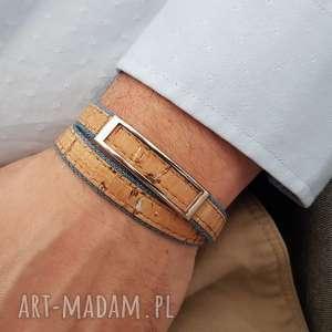 handmade męska bransoletka korek jeans hombree steel