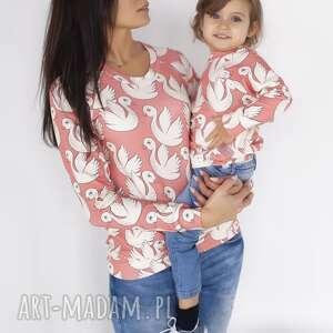 bluzy animals by libou zestaw bluz dla mamy i dziecka koralowe łabędzie