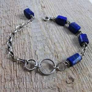 Łańcuszek z lapis lazuli, lapis, srebro, bransoletka