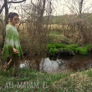 Prezent Lniana narzutka ręcznie barwiona, narzutka, ponczo, sweter, bluzka, letnie,