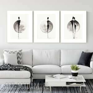 zestaw 3 grafik 30x40 cm wykonanych ręcznie, grafika czarno-biała, abstrakcja