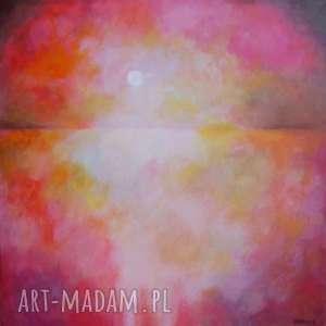 obraz na płótnie - astrakcja-zachód słońca 40/40 cm, abstrakcja, słońce, róż