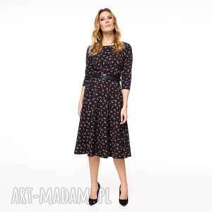 sukienki sukienka ivanka, midi, klasyczna, uniwersalna, wzorzysta, rozkloszowana
