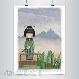 lapatiq plakat autorski b2, japońska, ayame, góra, kokeshi, lalka, plakat