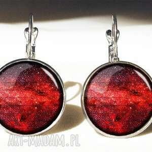 czerwona nebula - duże kolczyki wiszące - kosmiczne prezent, galaxy